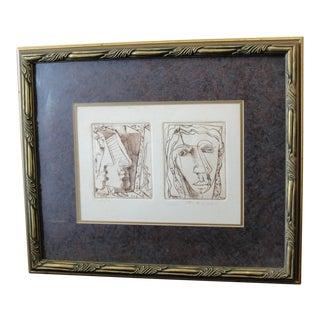 Frits Van Eeden Abstract Portrait 2-Plate Etching