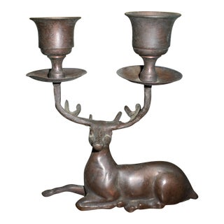 Brass Deer Antler Candle Holder