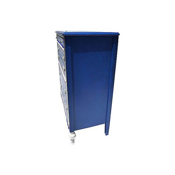 Image of Antique Blue and Red Painted Dresser