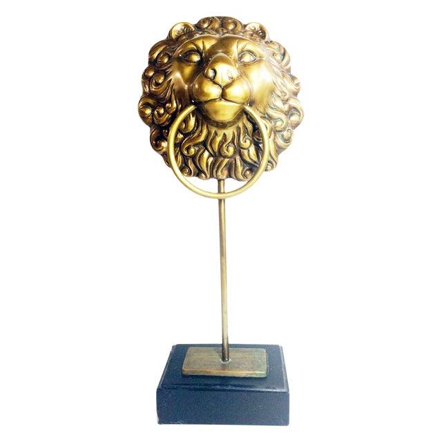 Image of Vintage Lion Head Doorknocker on Wood Stand