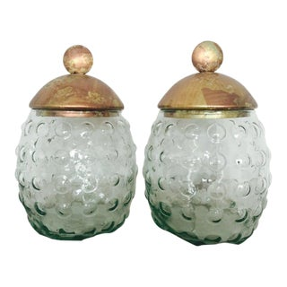 Glass Jars With Copper Gilded Lids - A Pair