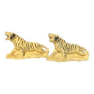 Vintage Mid-Century Tiger Planters - A Pair