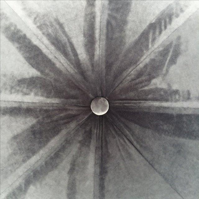 Vintage Silver Plush Velvet Star Ottoman - Image 5 of 9