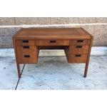 Image of Mid-Century Walnut & Wicker Desk