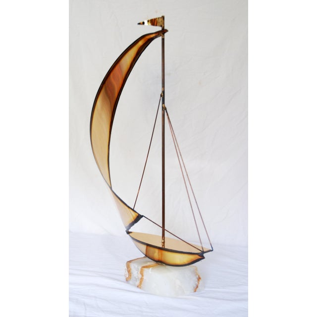 Vintage Metal and Onyx Sailboat Tabletop Sculpture - Image 3 of 5