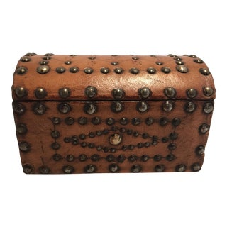 Vintage Leather Covered Wooden Box