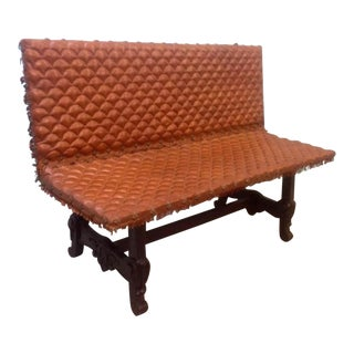 Spanish Tufted Leather Bench