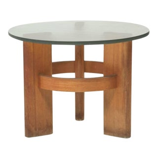 Round Studio Side Table with Solid Old Oak Legs and Original Glass Top