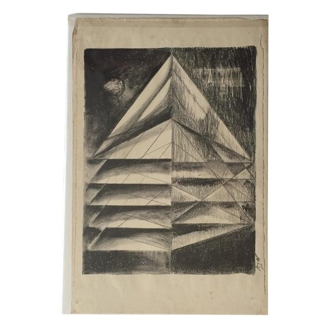 Richard Ayer Vintage Geometric Lithograph Print - Image 1 of 5