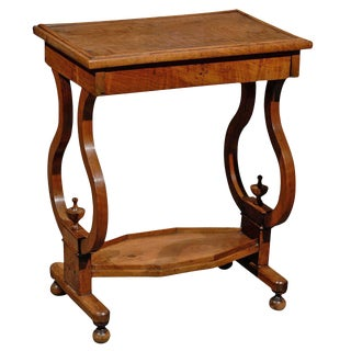 French Late 19th Century Walnut Side Table with Lyre Shaped Legs and Lower Shelf