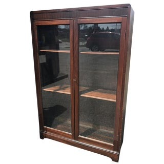 Antique Empire Mahogany Glass Front Bookcase