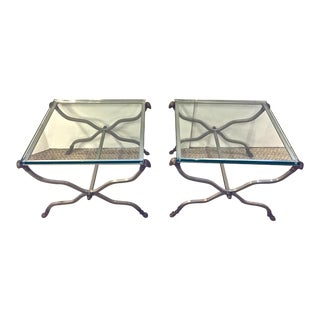 Maison Jansen Style Steel & Glass Side Tables - a Pair