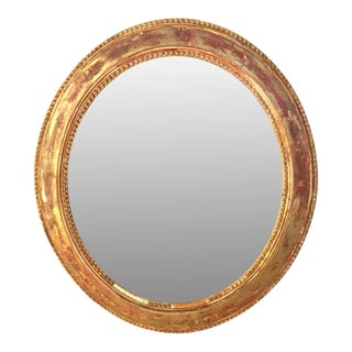 19th C. French Oval Giltwood Mirror