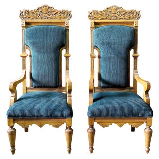 Carved Oak Throne Chairs - A Pair