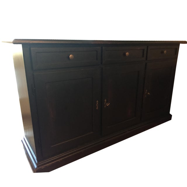 Black Pottery Barn Sideboard with Red Interior - Image 1 of 3