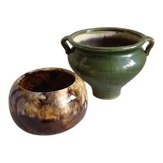 Vintage Pottery Planter Pots - A Pair