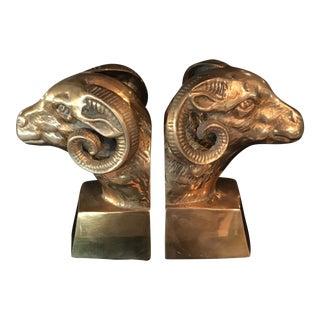 Hollywood Regency Brass Ram Head Bookends- A Pair