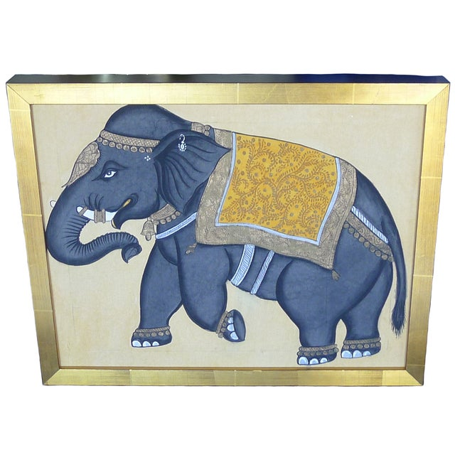 Framed Indian Elephant Painting - Image 2 of 4