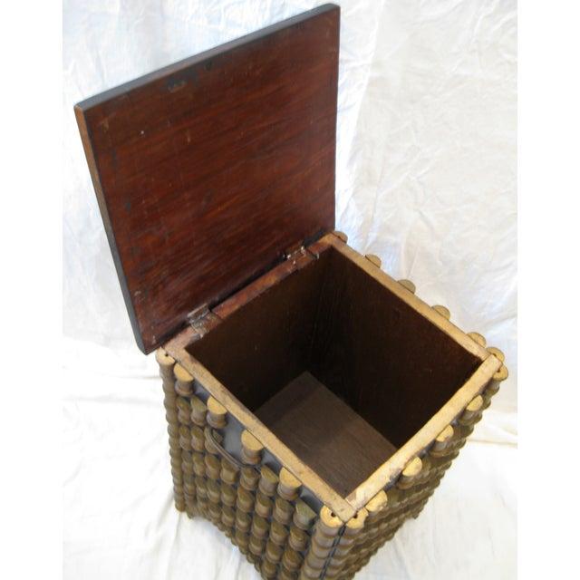 Folk Art Spool Table With Hidden Storage - Image 4 of 6