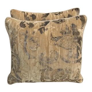 Stenciled Gold Velvet Pillows - A Pair