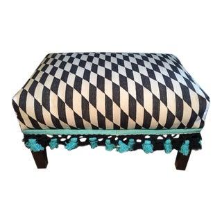 Black, White and Blue Kilim Ottoman
