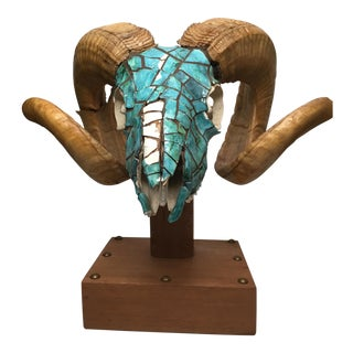 Turquoise Encrusted Ram Head