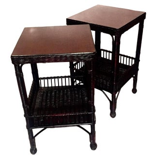 Palecek Wood & Rattan Side Tables - A Pair