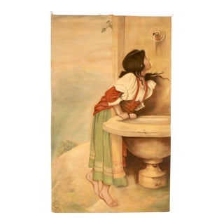 Art Deco 1920's Painting of a Girl