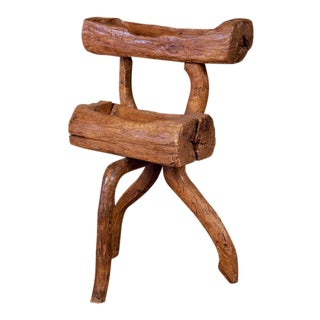 One of a Kind, Handcrafted Two-Tier Rustic Wood Sculpture from France, circa 1920
