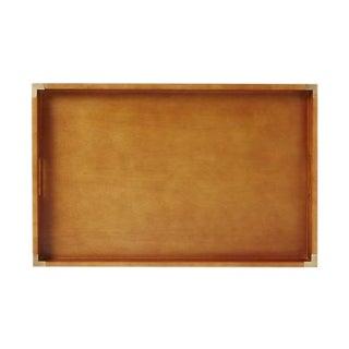 Mid Century Brass & Wood Large Tray
