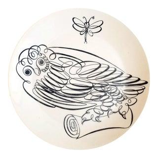 Vintage Piero Fornasetti Porcelain Uccelli Calligrafici Bird Plate, Owl, #6 in Series, 1962.