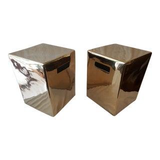 Set of Gold Garden Stools - Pair