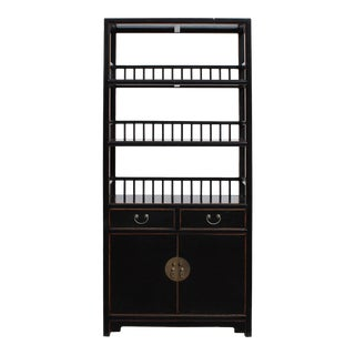 Chinese Distressed Black 3 Shelves bookcase Display Cabinet