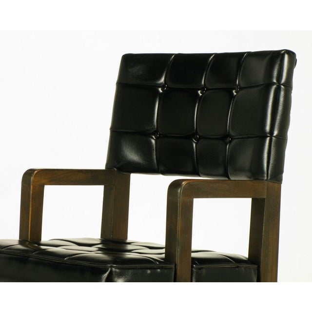 Black Button Tufted Mahogany Frame Desk Chair - Image 7 of 8