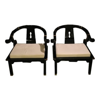 James Mont Black Lacquer Horseshoe Lounge Chairs - a Pair