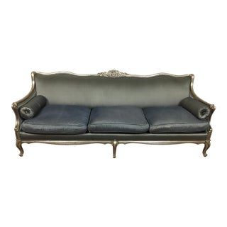 Sold -Country Lined Oak Luis XVI Grey Linen Settee