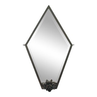 A Spare French Art Deco Wrought Iron Mirror