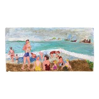 "Beach Scene Impasto Oil & Sand Painting - 30"" x 15"""
