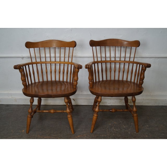 Ethan Allen Nutmeg Solid Maple Windsor Style Dining Chairs