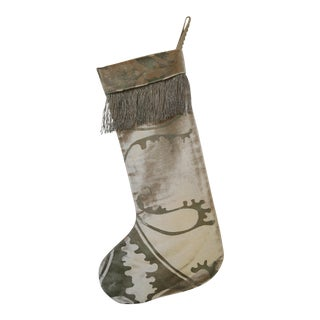 Custom Hand Stenciled and Vintage Metallic Trim Christmas Stocking