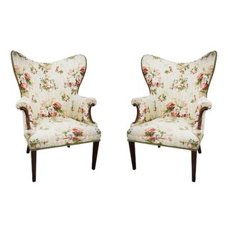 Floral Wingback Armchairs - A Pair