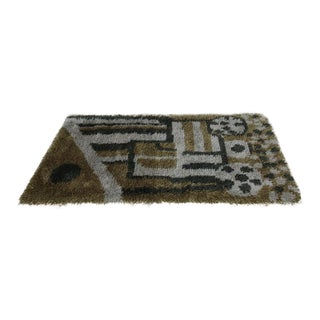 Green Toned Swedish Rya Rug - 3′2″ × 5′8″
