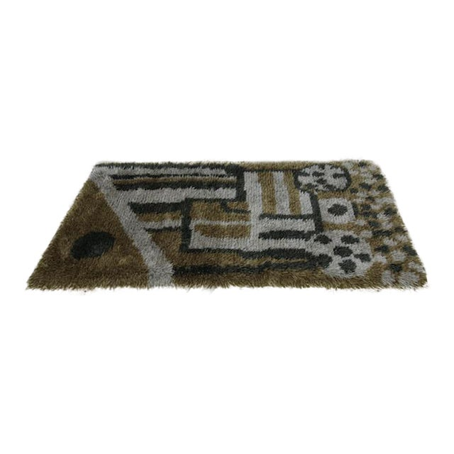 Green Toned Swedish Rya Rug - 3′2″ × 5′8″ - Image 1 of 6
