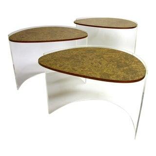 Vladimir Kagan Lucite & Burled Nesting Tables - S/3
