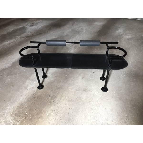 Memphis Style Leather and Steel Bench by Polflex Italia for Cy Mann Designs NYC, 1985 - Image 2 of 8