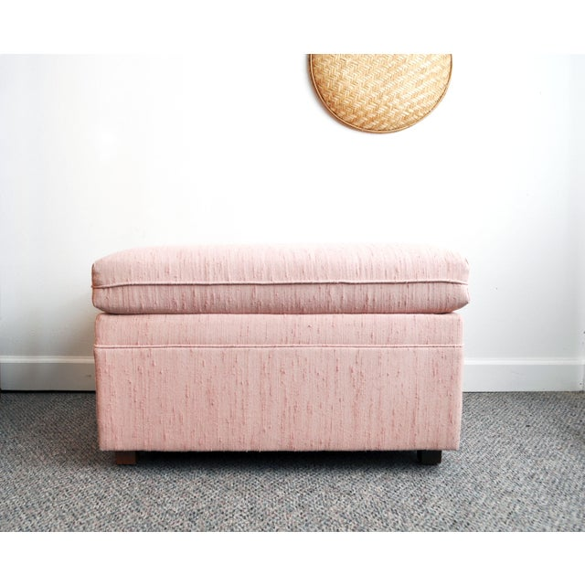 Blush Pink Upholstered Ottoman - Image 4 of 9