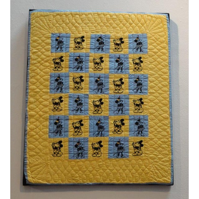 Mounted Folky and Rare Mickey & Minnie Mouse Crib Quilt - Image 2 of 7