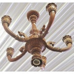 Image of Carved Walnut Wooden Chandelier