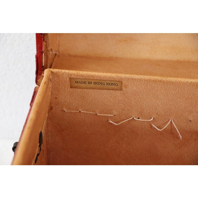 Chinese Orange Leather Tabletop Trunk - Image 8 of 8