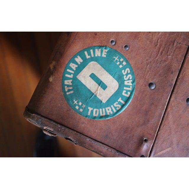 Vintage Worn Leather Suitcase - Image 3 of 8